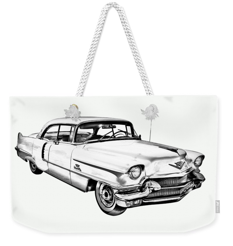 Car Weekender Tote Bag featuring the photograph 1956 Sedan Deville Cadillac Car Illustration by Keith Webber Jr