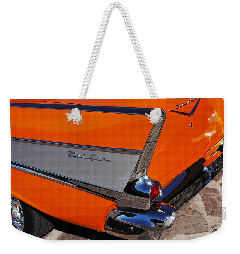 Car Weekender Tote Bag featuring the photograph 1957 Chevrolet Belair Coupe Tail Fin by Jill Reger