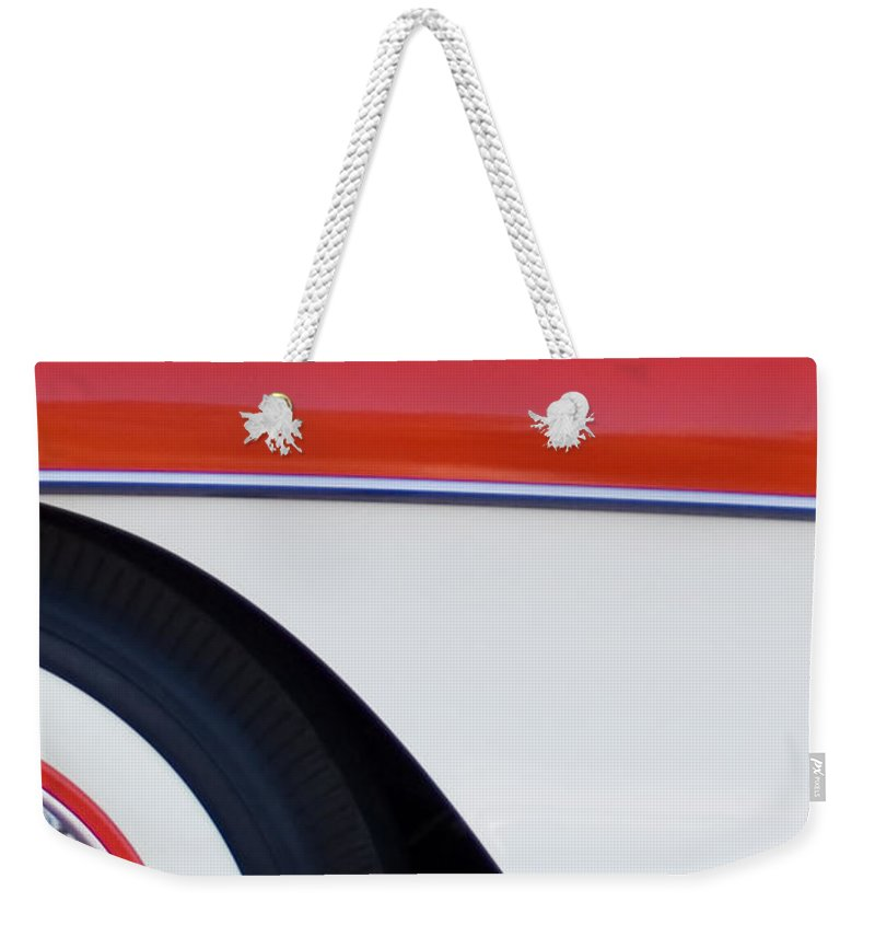 Car Weekender Tote Bag featuring the photograph 1957 Chevrolet Corvette Convertible Front End by Jill Reger