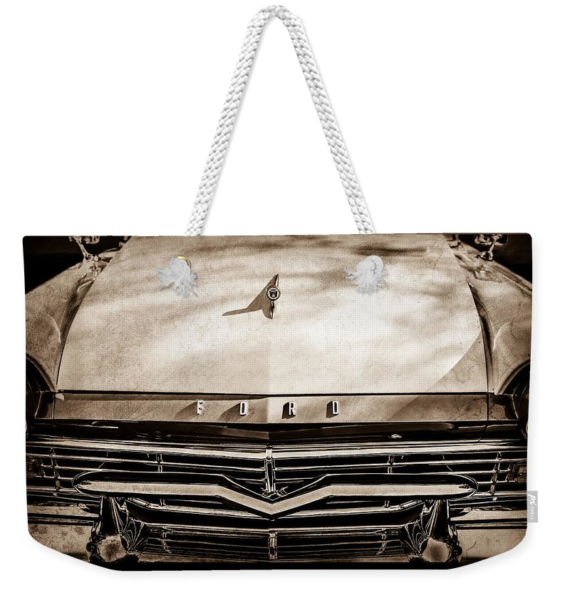 1957 Ford Custom 300 Series Ranchero Grille Emblem Weekender Tote Bag featuring the photograph 1957 Ford Custom 300 Series Ranchero Grille Emblem -0465s by Jill Reger