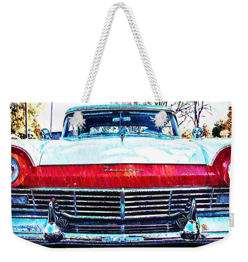 1957 Weekender Tote Bag featuring the photograph 1957 Ford Fairlane by Bill Cannon
