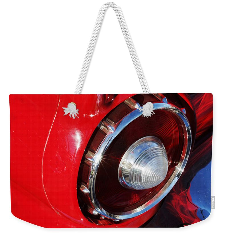 Car Weekender Tote Bag featuring the photograph 1957 Ford Thunderbird Taillight by Jill Reger