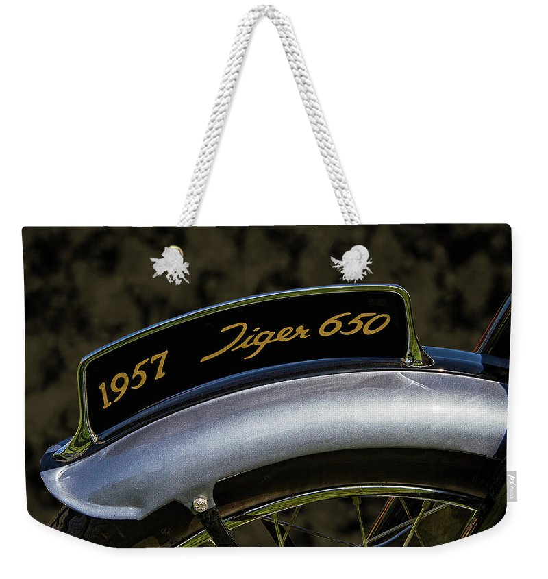 1957 Weekender Tote Bag featuring the photograph 1957 Triumph Tiger 650 License Plate by Nick Gray