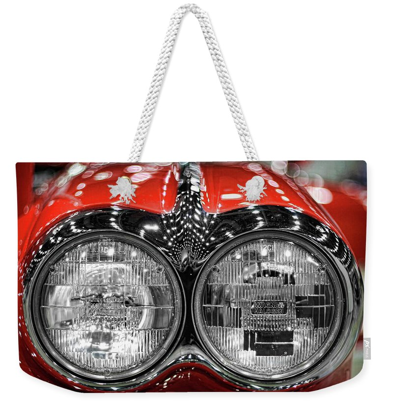 1958 Weekender Tote Bag featuring the photograph 1958 Chevrolet Corvette by Gordon Dean II