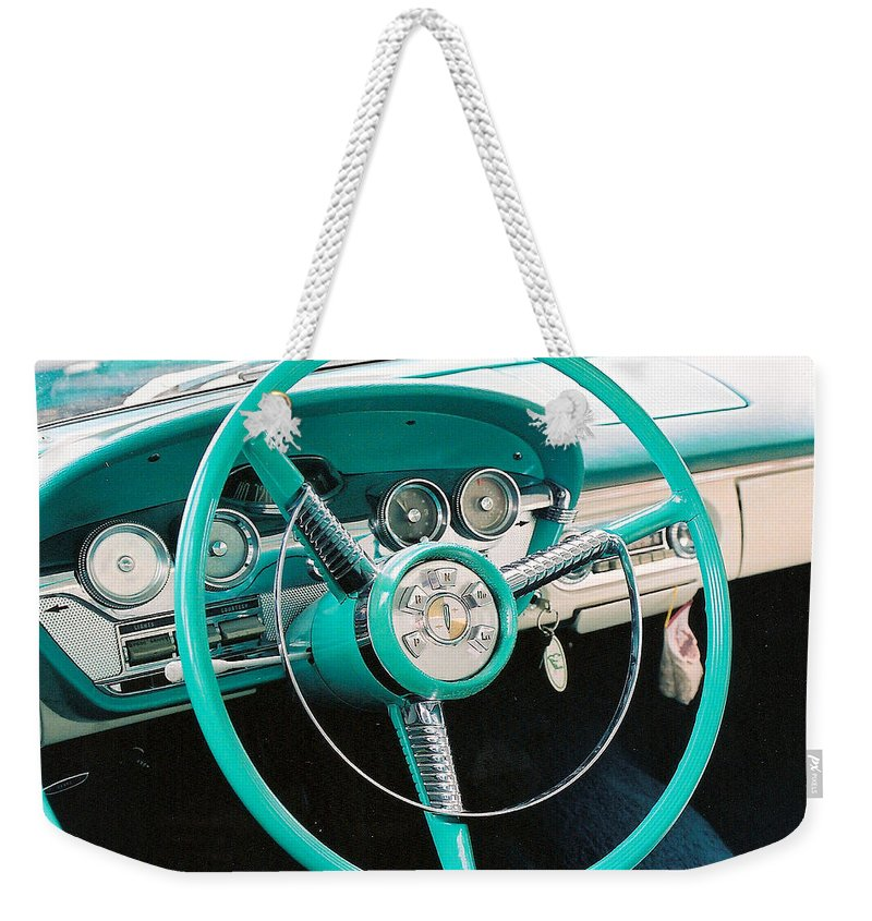 Edsel Weekender Tote Bag featuring the photograph 1958 Edsel Pacer Dash by Lauri Novak