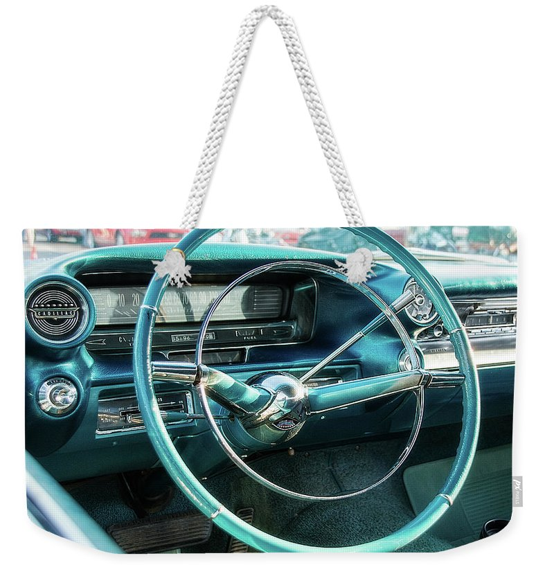 1950s Weekender Tote Bag featuring the photograph 1959 Cadillac Sedan Deville Series 62 Dashboard by Jon Woodhams