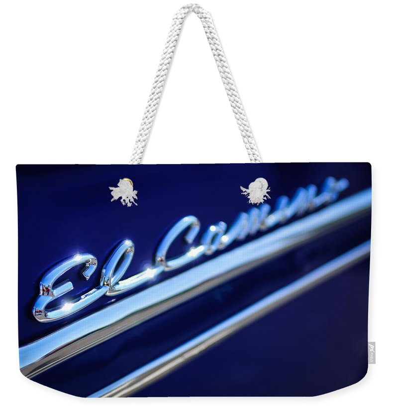 1959 Chevrolet El Camino Emblem Weekender Tote Bag featuring the photograph 1959 Chevrolet El Camino Emblem -0008c by Jill Reger