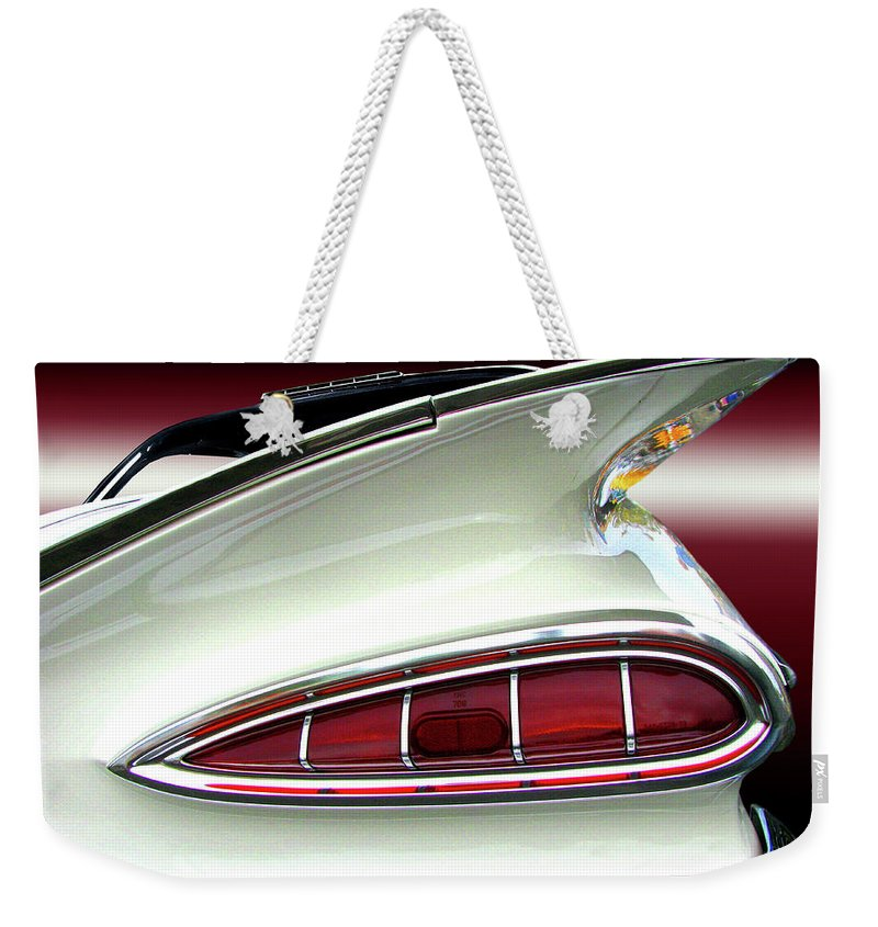Transportation Weekender Tote Bag featuring the photograph 1959 Chevrolet Impala Tail by Peter Piatt