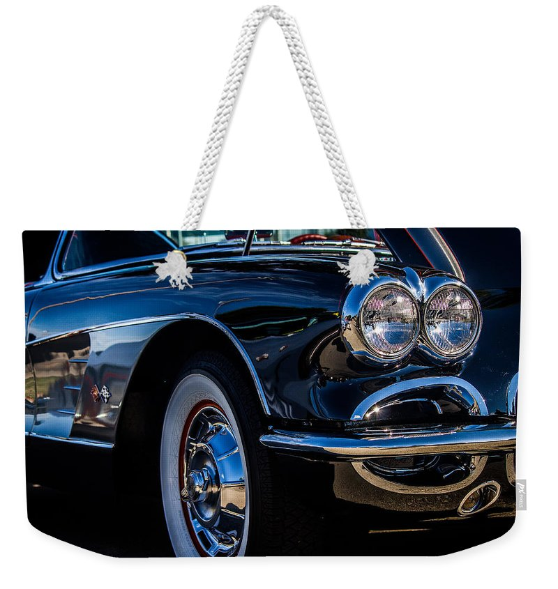 1959 Weekender Tote Bag featuring the photograph 1959 Chevy Corvette by Anthony Evans