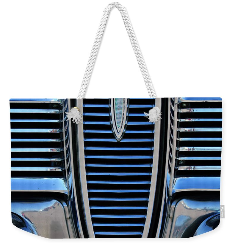 1959 Edsel Villager Weekender Tote Bag featuring the photograph 1959 Edsel Villager Grille by Jill Reger
