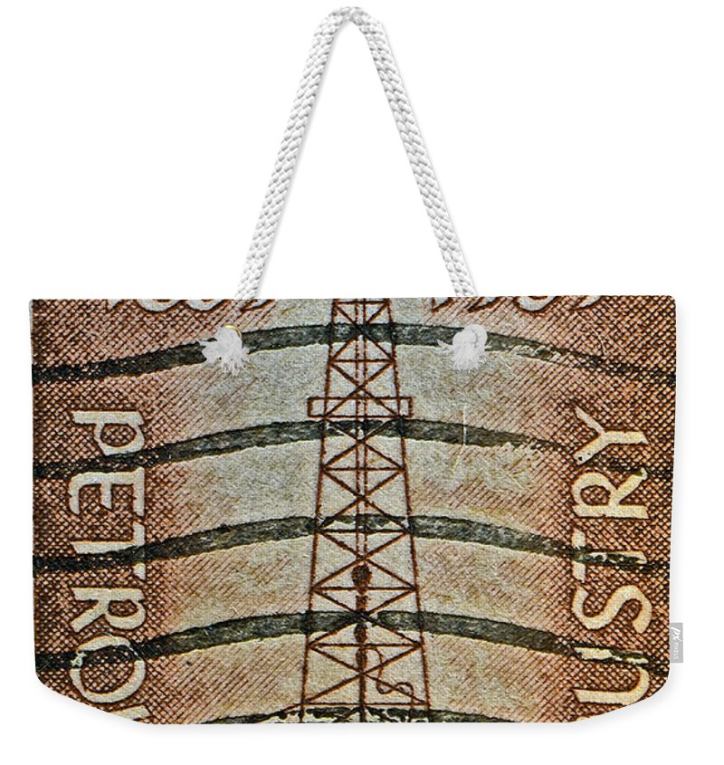 1959 Weekender Tote Bag featuring the photograph 1959 First Oil Well Stamp by Bill Owen