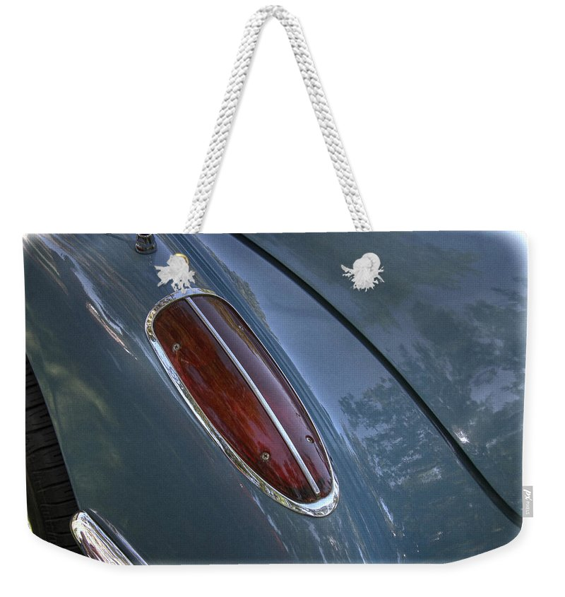 1960 Weekender Tote Bag featuring the photograph 1960 Chevy Corvette Taillight by Nick Gray