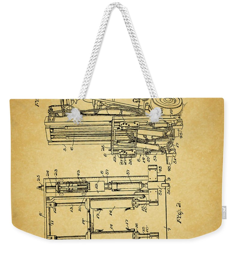 1962 Forklift Patent Weekender Tote Bag featuring the mixed media 1962 Forklift Patent by Dan Sproul