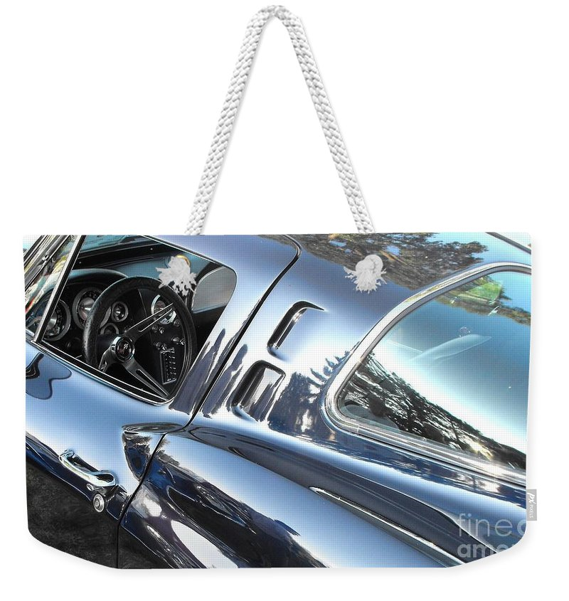 Corvette Weekender Tote Bag featuring the photograph 1963 Corvette Stingray by Neil Zimmerman