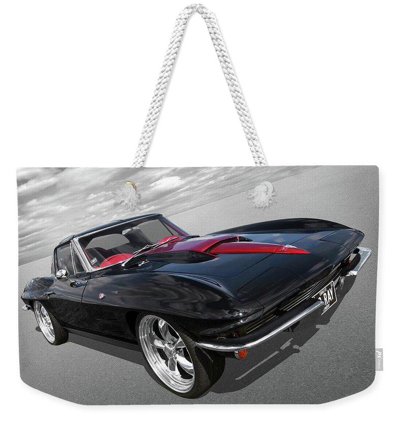 c460a53b494e Corvette Stingray Weekender Tote Bag featuring the photograph 1963 Corvette  Stingray Split Window In Black And