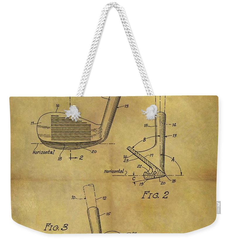 1963 Sand Wedge Patent Weekender Tote Bag featuring the drawing 1963 Sand Wedge Patent by Dan Sproul
