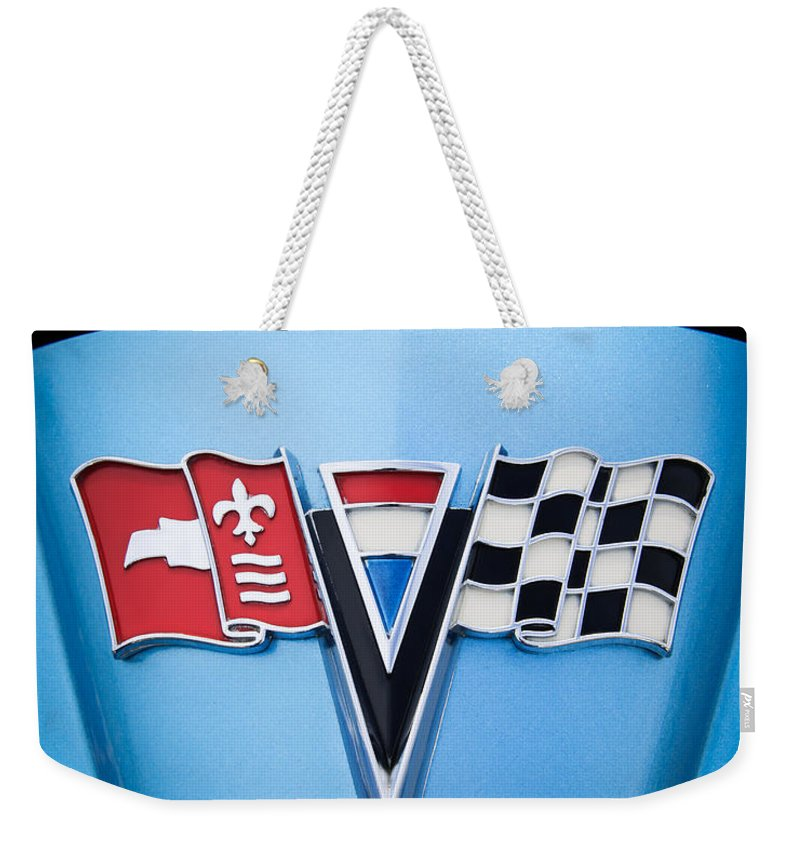 1964 Chevrolet Corvette Sting Ray Gm Styling Coupe Hood Emblem Weekender Tote Bag featuring the photograph 1964 Chevrolet Corvette Sting Ray Gm Styling Coupe Hood Emblem -0126c45 by Jill Reger