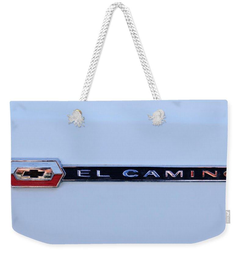 1964 Chevrolet El Camino Emblem Weekender Tote Bag featuring the photograph 1964 Chevrolet El Camino Emblem -ck0084c by Jill Reger