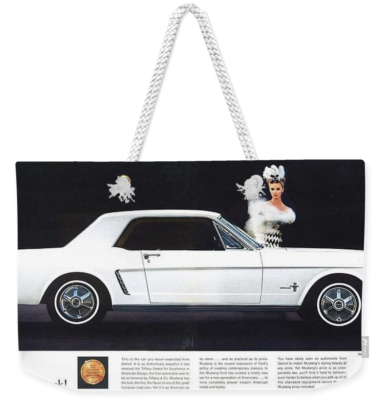 1964 Weekender Tote Bag featuring the photograph 1964 Ford Mustang Muscle by R Muirhead Art
