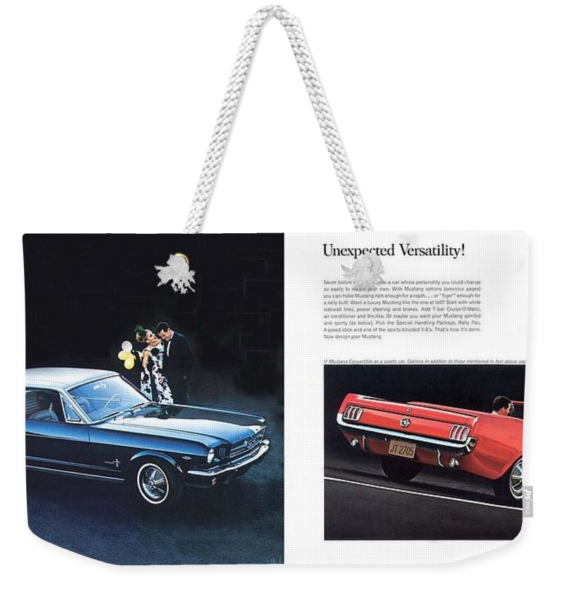 1964 Ford Mustang-08-09 Weekender Tote Bag featuring the photograph 1964 Ford Mustang-08-09 by R Muirhead Art