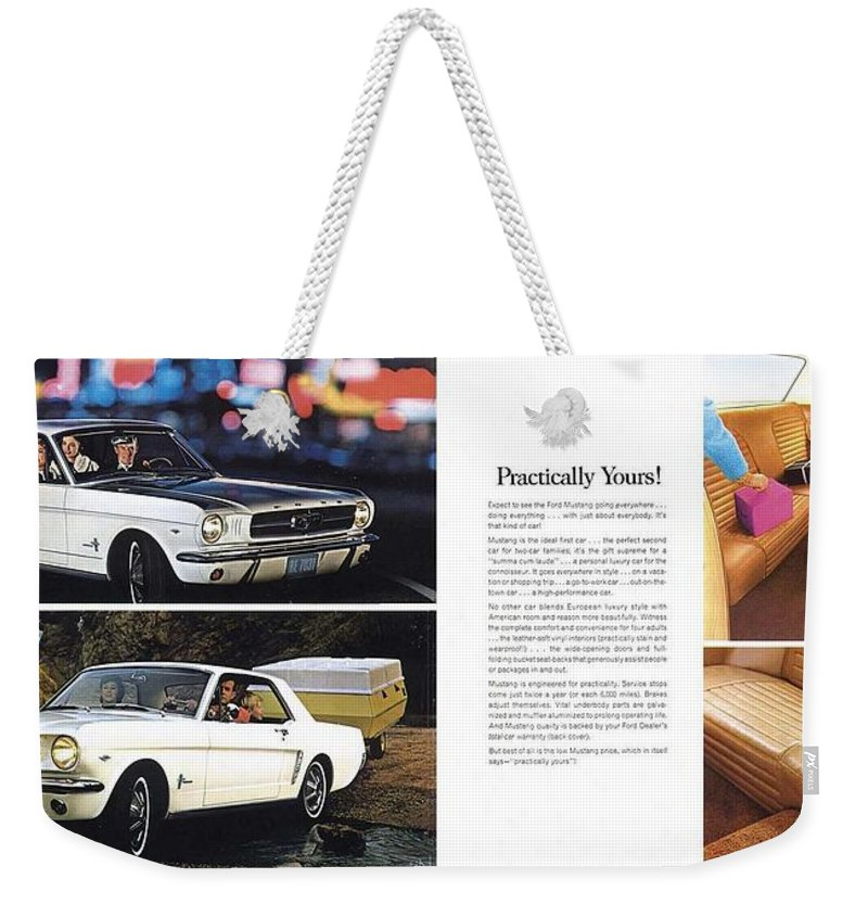 1964 Ford Mustang-10-11 Weekender Tote Bag featuring the photograph 1964 Ford Mustang-10-11 by R Muirhead Art