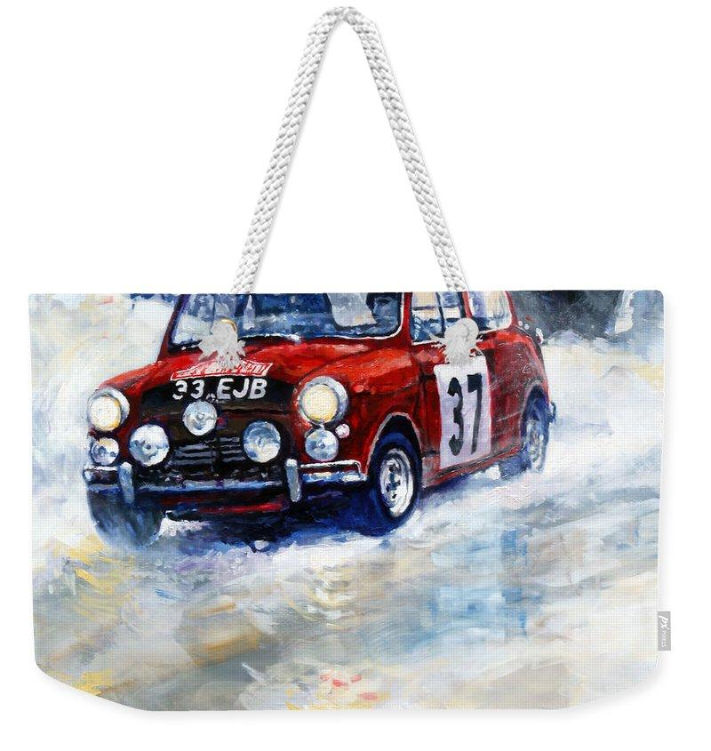 Oil Weekender Tote Bag featuring the painting 1964 Rallye Monte Carlo Mini Cooper S Hopkirk Liddon Winner 1964 by Yuriy Shevchuk