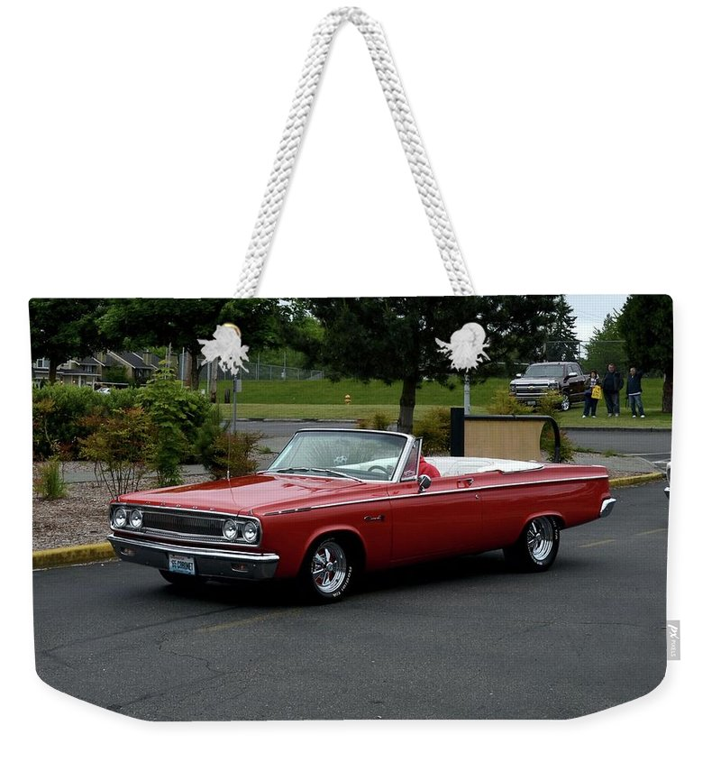 1965 Weekender Tote Bag featuring the photograph 1965 Dodge Coronet 500 Higgins by Mobile Event Photo Car Show Photography