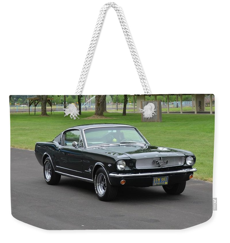 1965 Weekender Tote Bag featuring the photograph 1965 Mustang Fastback Kearney by Mobile Event Photo Car Show Photography