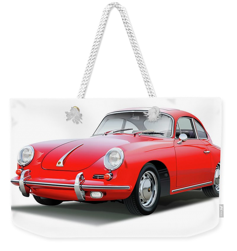 1965 Porsche 356 Sc Coupe In Red Weekender Tote Bag featuring the drawing 1965 Porshe 356 Sc Coupe by Alain Jamar