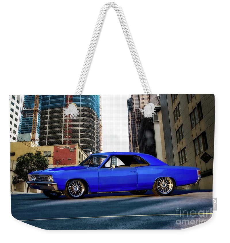 Automobile Weekender Tote Bag featuring the photograph 1967 Chevelle 'city-fied' Malibu by Dave Koontz