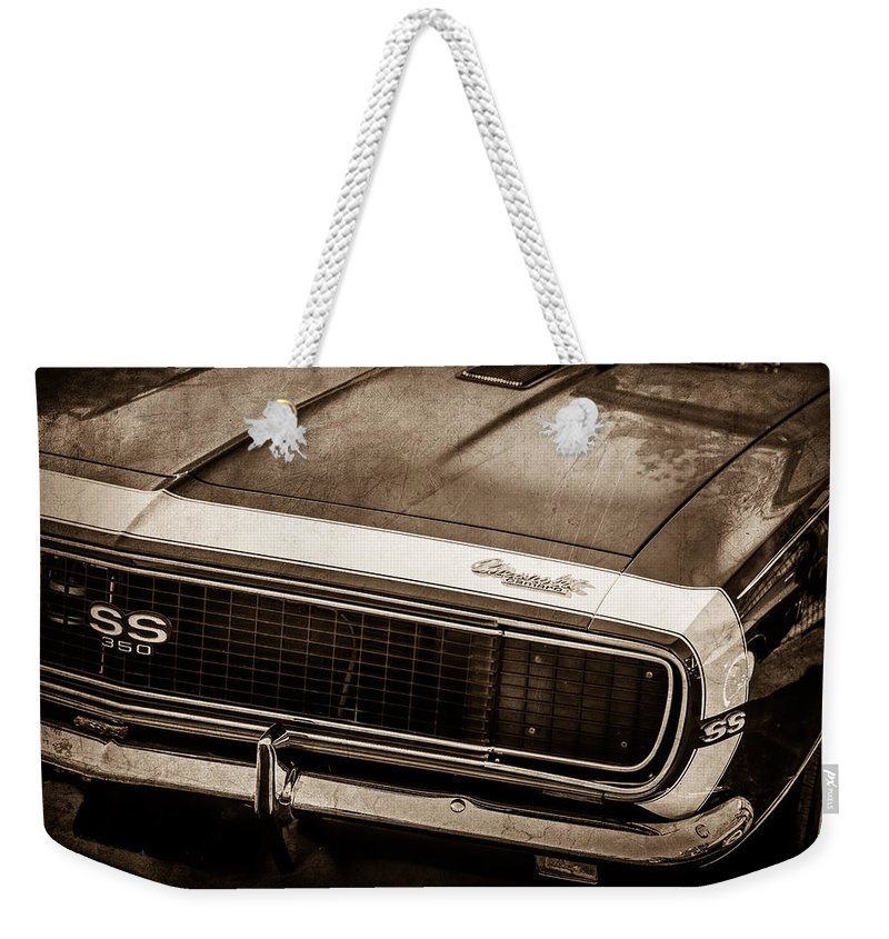 1967 Chevrolet Camaro Ss350 Convertible Grille Emblem Weekender Tote Bag featuring the photograph 1967 Chevrolet Camaro Ss350 Convertible Grille Emblem -0704s by Jill Reger