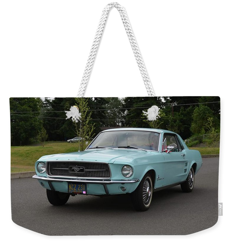 1967 Weekender Tote Bag featuring the photograph 1967 Ford Mustang Watts by Mobile Event Photo Car Show Photography