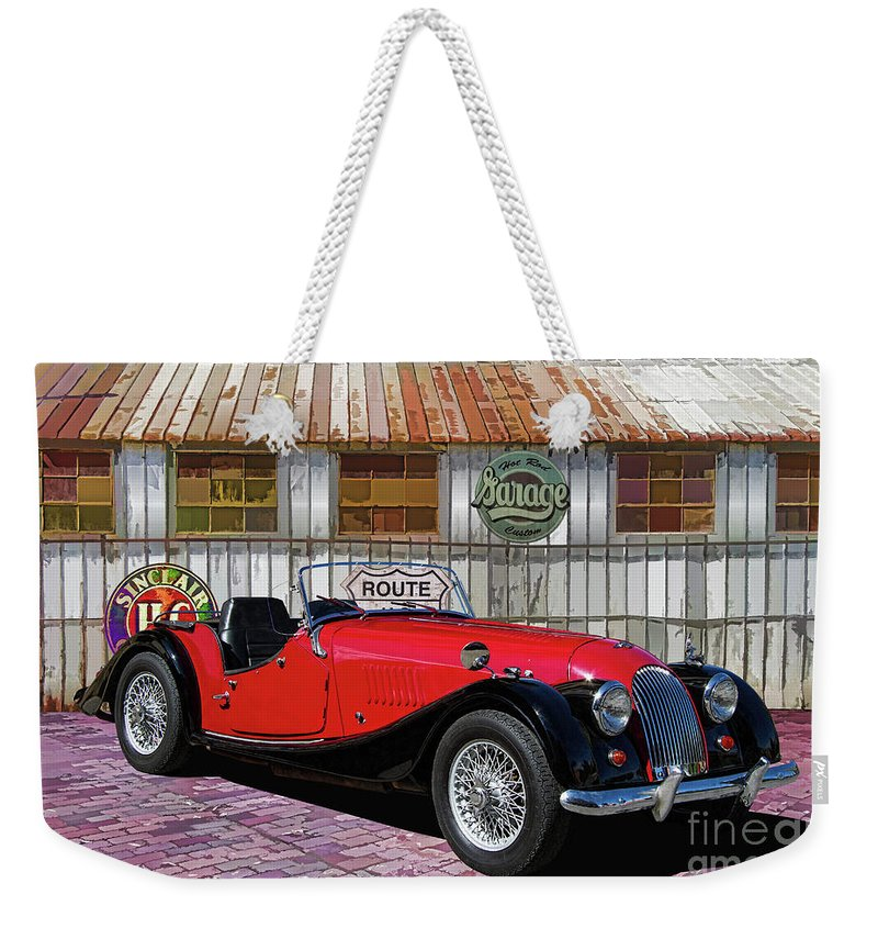 1967 Weekender Tote Bag featuring the photograph 1967 Morgan Antique Sports Car by Nick Gray
