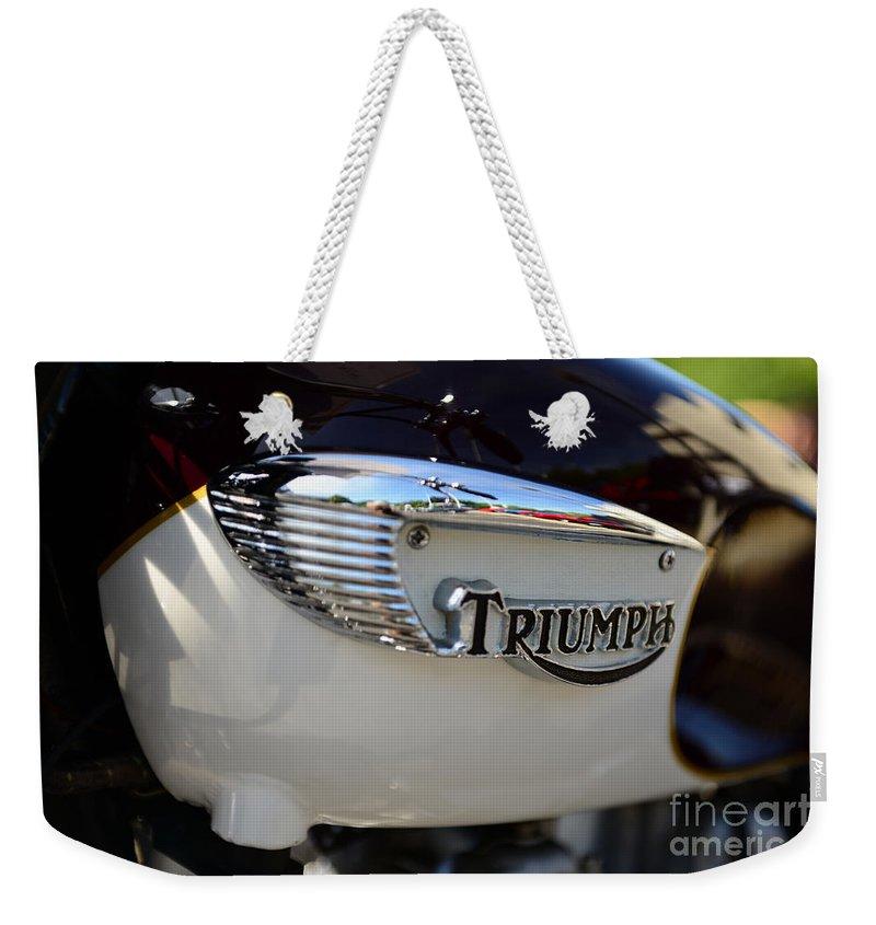 1967 Triumph Gas Tank Weekender Tote Bag featuring the photograph 1967 Triumph Gas Tank 2 by Paul Ward