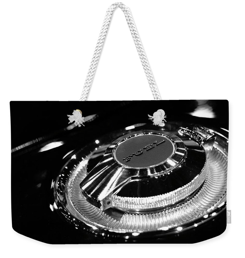 1966 Weekender Tote Bag featuring the photograph 1968 Dodge Charger Fuel Cap by Gordon Dean II