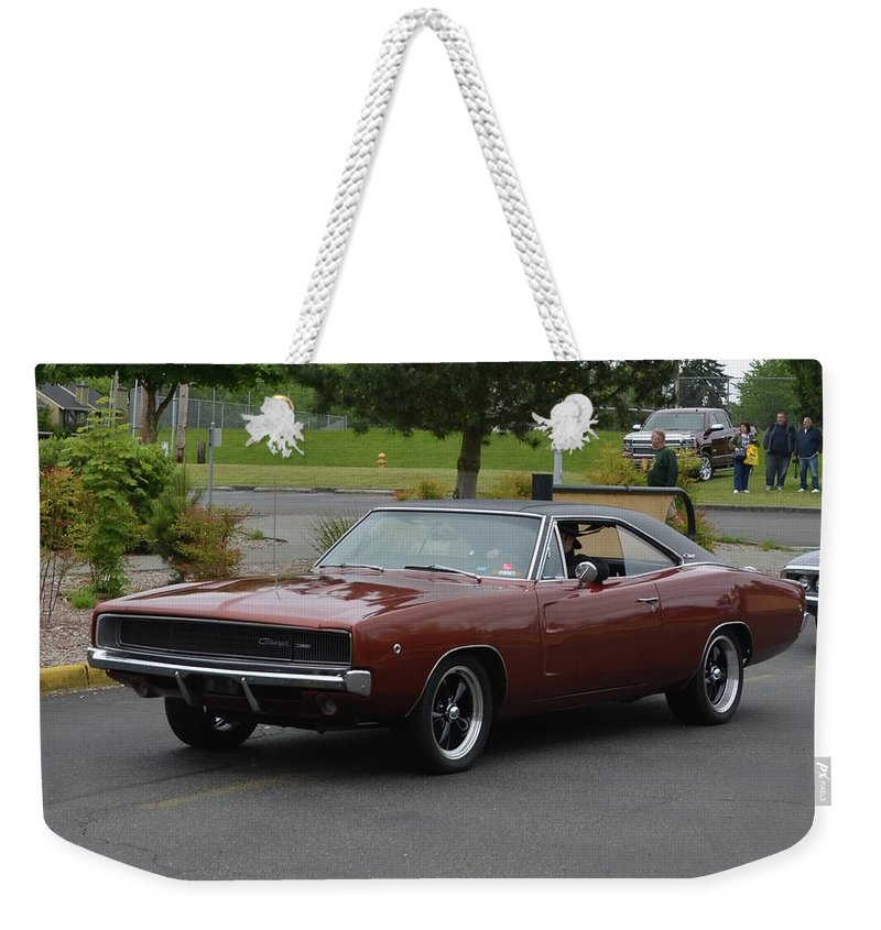 1968 Weekender Tote Bag featuring the photograph 1968 Dodge Charger Grow by Mobile Event Photo Car Show Photography