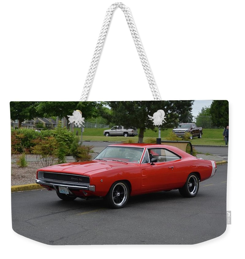 1968 Weekender Tote Bag featuring the photograph 1968 Dodge Charger Rt Bonacci by Mobile Event Photo Car Show Photography