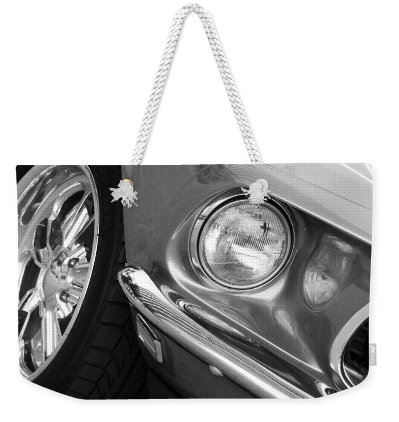 Transportation Weekender Tote Bag featuring the photograph 1969 Ford Mustang Mach 1 Front Black And White by Jill Reger