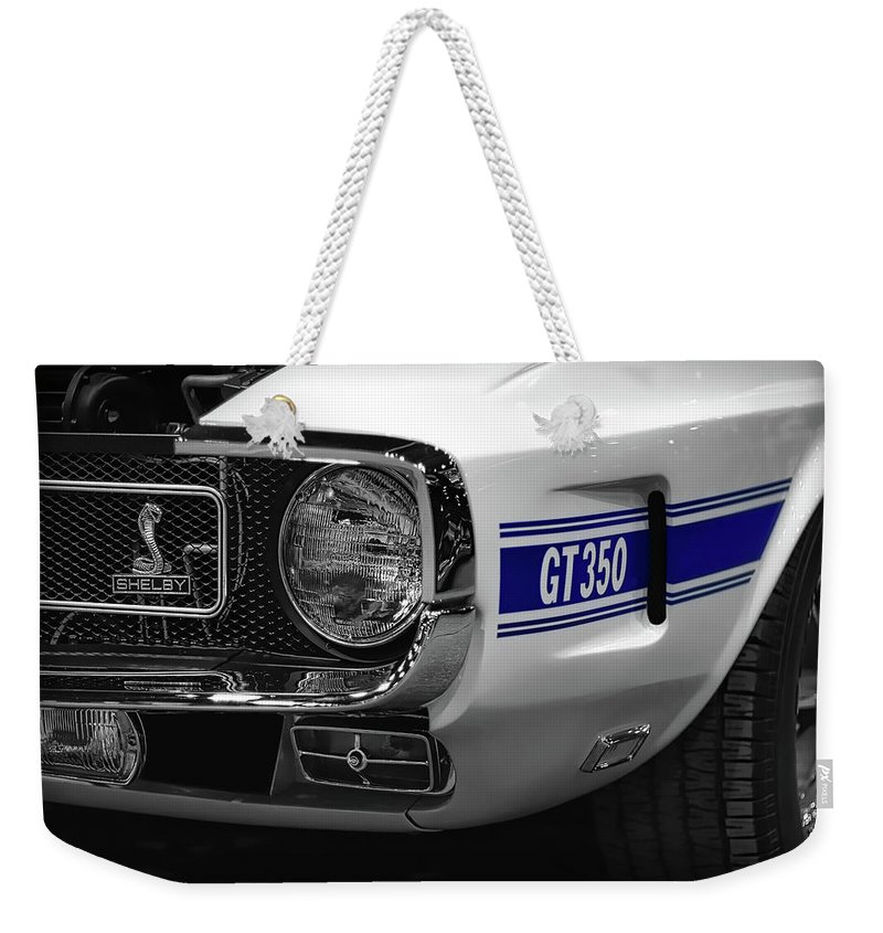 1970 Weekender Tote Bag featuring the photograph 1969 Ford Mustang Shelby Gt350 1970 by Gordon Dean II