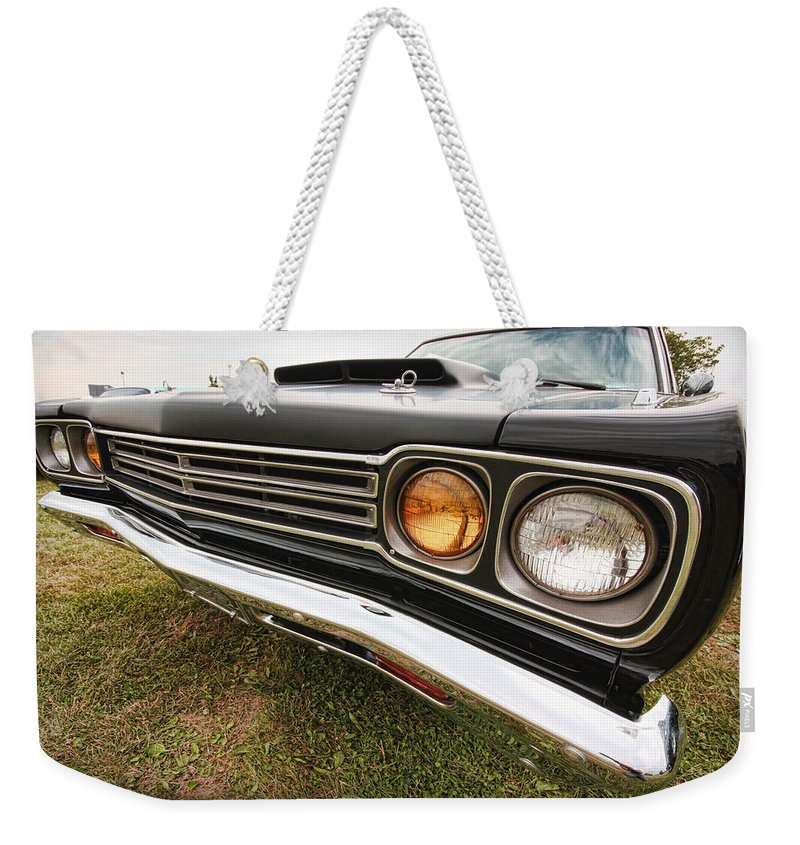 1970 Weekender Tote Bag featuring the photograph 1969 Plymouth Road Runner 440-6 by Gordon Dean II