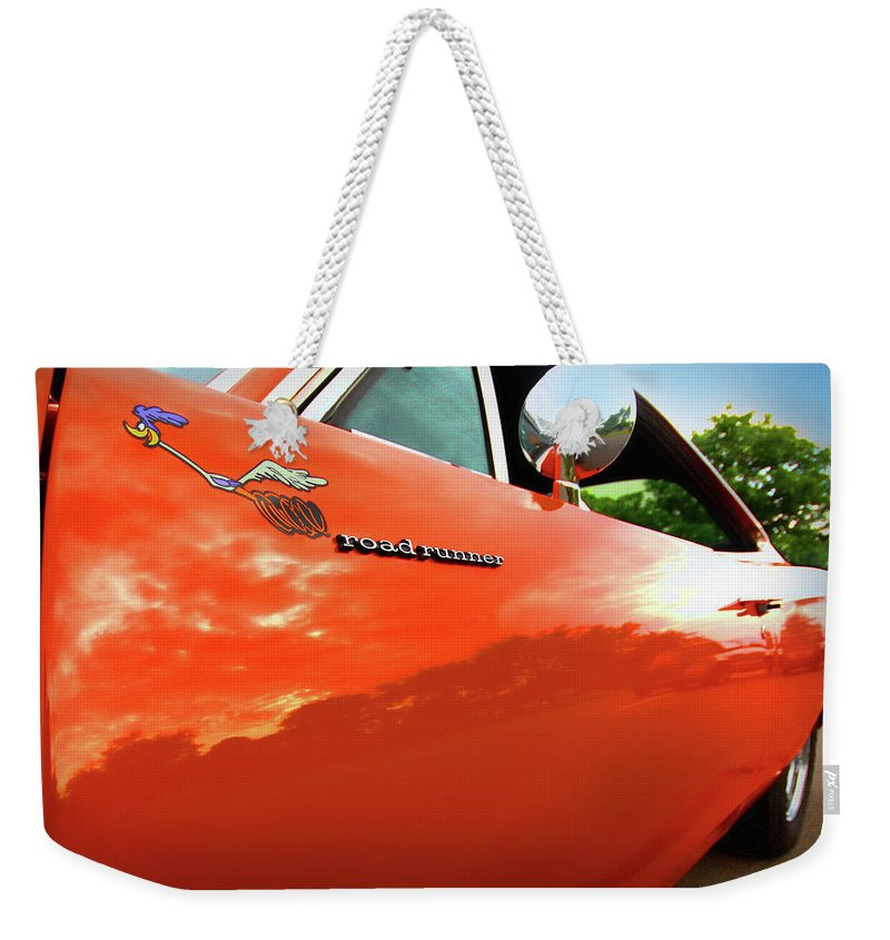 1969 Weekender Tote Bag featuring the photograph 1969 Plymouth Road Runner 440 Roadrunner by Gordon Dean II
