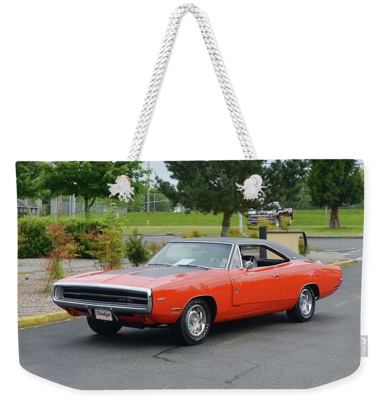 1970 Weekender Tote Bag featuring the photograph 1970 Hemi Charger Rt Asher by Mobile Event Photo Car Show Photography