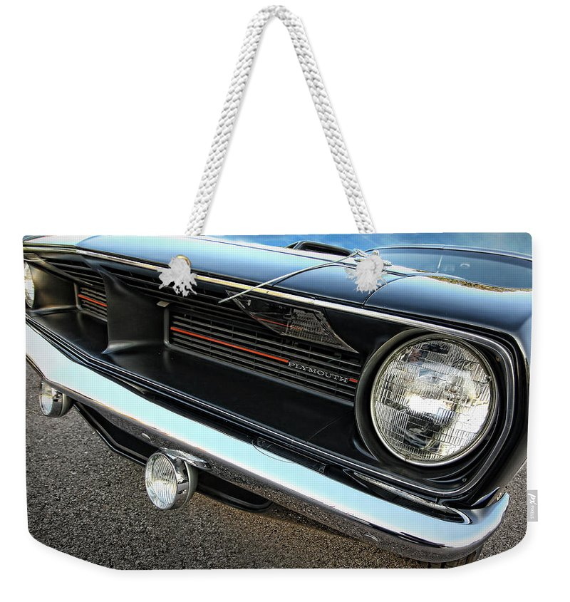 Black Weekender Tote Bag featuring the photograph 1970 Plymouth Barracuda 'cuda 440 by Gordon Dean II