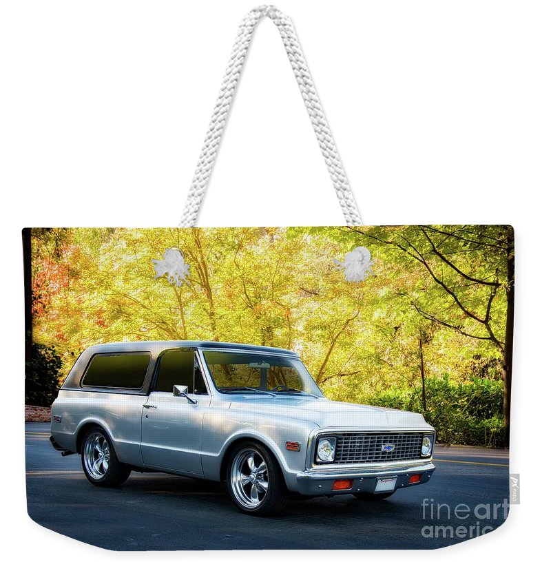 Automobile Weekender Tote Bag featuring the photograph 1971 Chevrolet Tahoe Blazer I by Dave Koontz