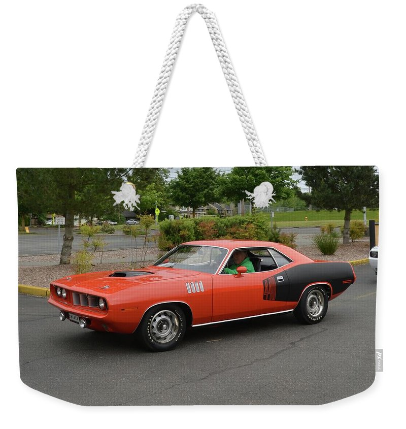 1971 Weekender Tote Bag featuring the photograph 1971 Plymouth Cuda 440 by Mobile Event Photo Car Show Photography