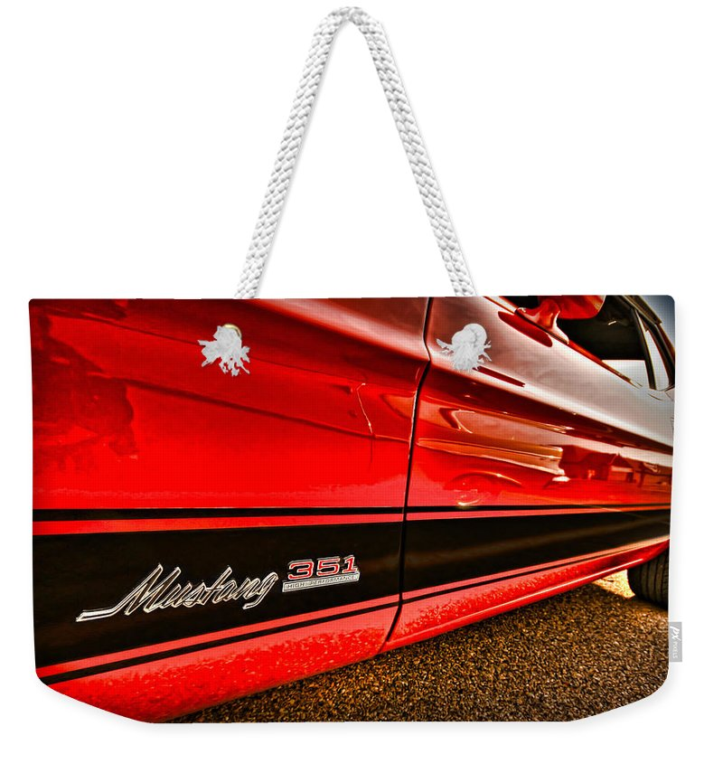 1973 Weekender Tote Bag featuring the photograph 1973 Ford Mustang Mach 1 351 High Performance by Gordon Dean II