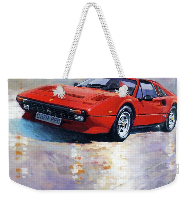 Oil On Canvas Weekender Tote Bag featuring the painting 1982-1985 Ferrari 308 Gts 1982 by Yuriy Shevchuk