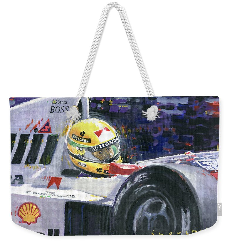Acrilic Weekender Tote Bag featuring the painting 1990 Mclaren Honda Mp4 5b Ayrton Senna World Champion by Yuriy Shevchuk