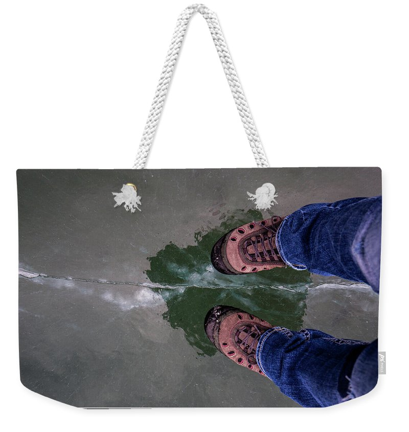 Rockies Weekender Tote Bag featuring the photograph Standing On Thin Ice 2 by J and j Imagery