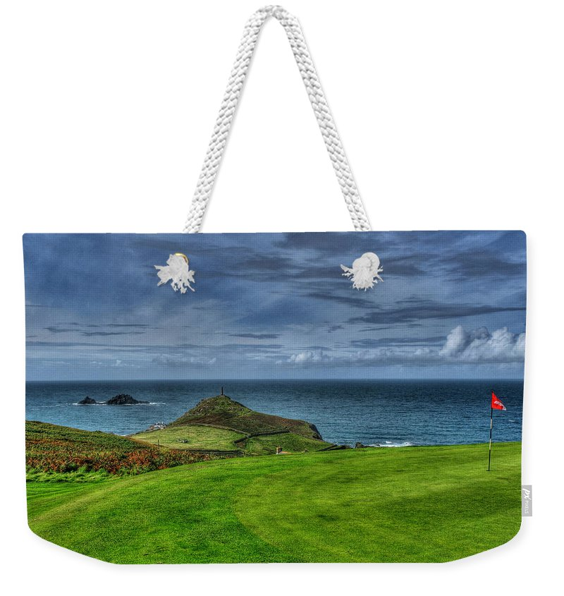 Golf Weekender Tote Bag featuring the photograph 1st Green Cape Cornwall Golf Club by Chris Thaxter